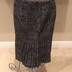 Black and White Pencil Skirt with Pleated Detail